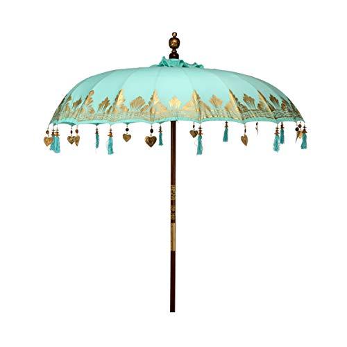 Butlers Oriental Lounge Sonnenschirm Beige Ø 180 cm - Sonnenschutz aus 100% Baumwolle - Gartenschirm, Terrassenschirm