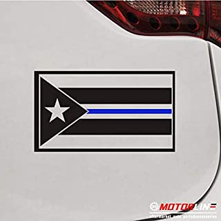 3S MOTORLINE Puerto Rico PR Flag Thin Blue line Decal Sticker Car Vinyl Police Pick Size (Black + Blue, 4'' (10.2cm))