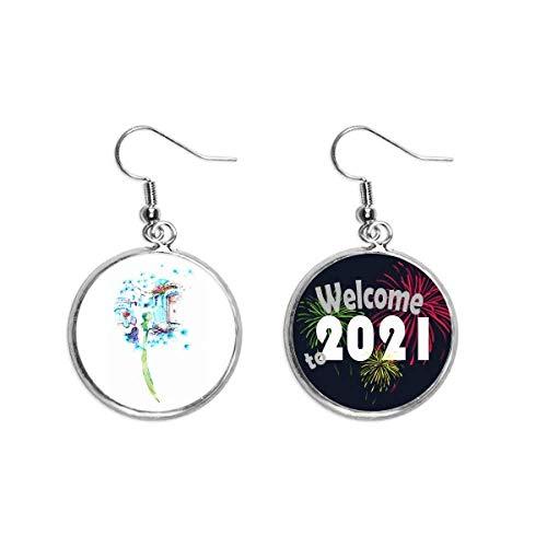 Dandelion Cabin Table Vase Watercolor Painting Ear Pendants Earring Jewelry 2021 Blessing