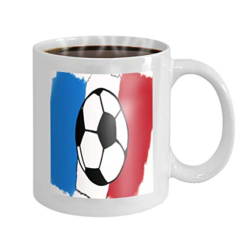 11 oz Coffee Mug Football Ball France Flag Simple Soccer Ball Flag Football World Cup FIFA Championship Soccer Novelty Ceramic Gifts Tea Cup