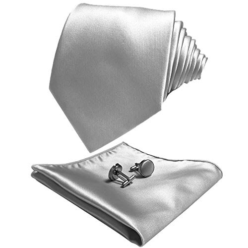 CANGRON Men Silver Tie Set Necktie with Pocket Square Cufflinks Giftbox ELSC8YI