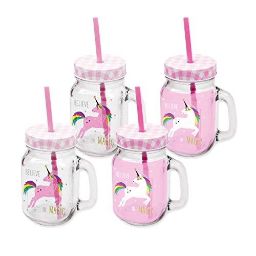 PPD 4 verres potable Verres Licorne Unicorn Rose Pink