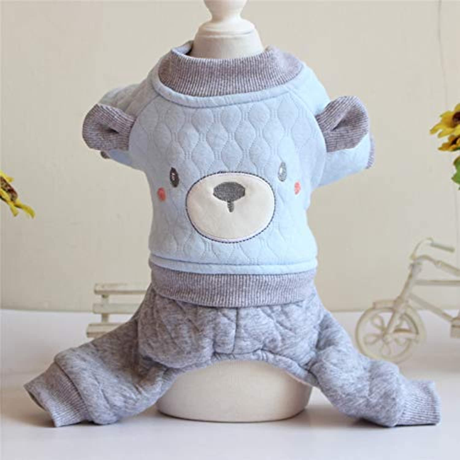 Doggy Costume New pet Clothes Autumn and Winter Clothes Dog Teddy Than Bear Four feet Cartoon Embroidered Transformation Onesies (color   bluee, Size   S) Pet Dog Clothes (color   bluee, Size   M)