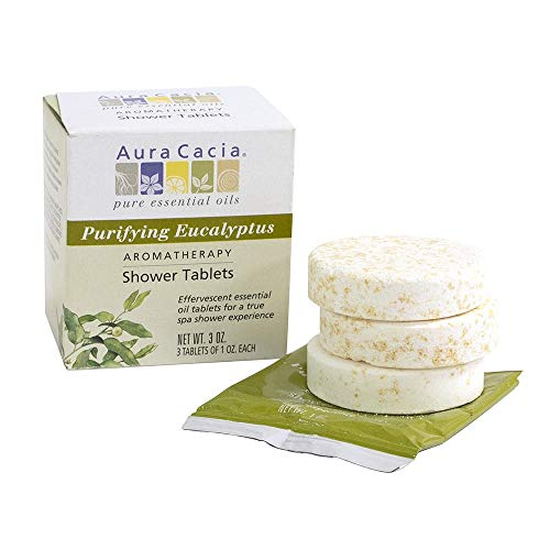 Aura Cacia - Purifying Eucalyptus Shower Tablet |Pure Essential Oils | Contains 3 Individually-Wrapped 1 oz. Tablets