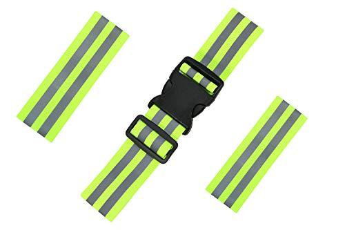 TOOAVIL Reflective Belt, with 2Pack Reflector Armbands, Adjustable Elastic Safety Reflective Belt, High Visibility Reflective Running Belt, Safety Belt Reflective for Cycling & Dog Walking & Running.