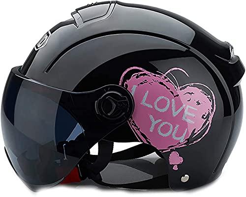 Yin Home Casco de Media Cara Dot/ECE Half Casco Motocicleta Liberación rápida Hebilla Abra Face Motocicleta Casco Retro Maldito Cascos (Color : E, Size : 50~64cm)