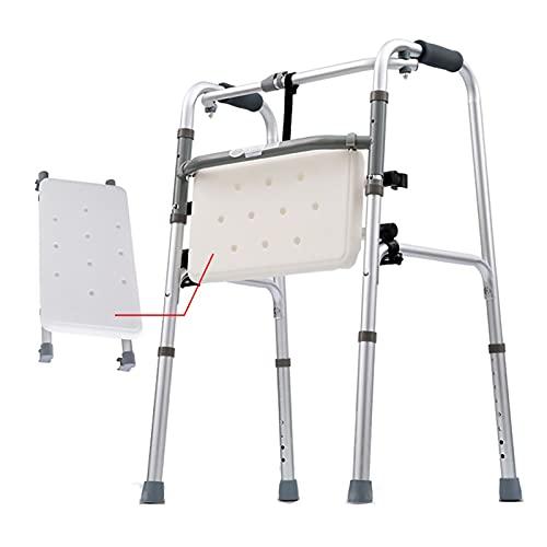 ZJMK Andadores para Ancianos Ligero Andador Andador Plata para Personas Mayores, Plegable Ayuda a la Movilidad Andadores estándar por Pacientes Minusválido Caminar y Descansar (Color : Walker+Seat)