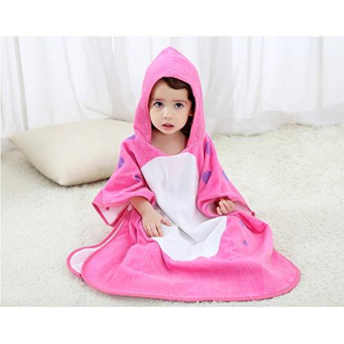 Maternal and child-G.TZ Serviettes De Bain À Capuchon pour Bébé, Coton Doux avec Serviette De Bain, Peignoir pour Tout-Petit Unisexe 0-6T, Rose