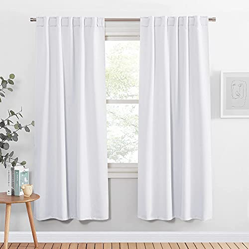 PONY DANCE Window Curtain Panels - 42 W x 72 L Pure White Bedroom Drapes Blinds Back Tab & Rod Pocket Window Treatments Energy Saving for Living Room, 2 Pieces