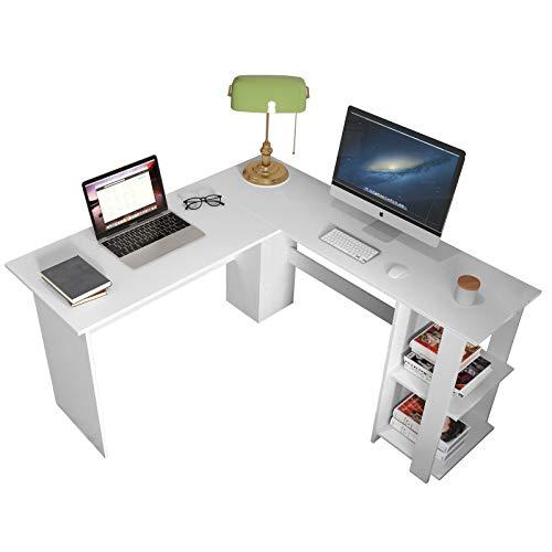DlandHome Computertisch mit Ablage Eckschreibtisch Winkelschreibtisch L-förmig, großer Gaming Schreibtisch Arbeitstisch Bürotisch PC Laptop Studie Tisch mit Schreibtischablage,Weiß