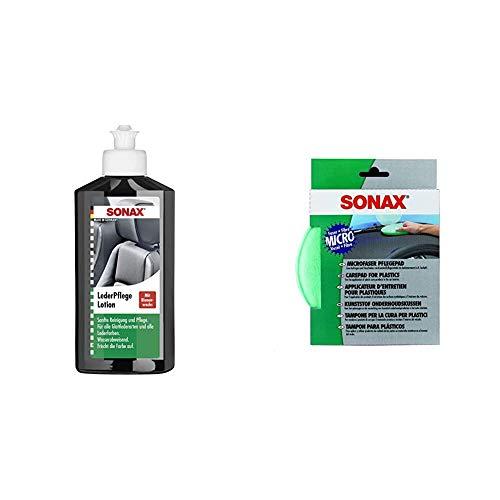 SONAX 291141 Leder-Pflege-Lotion, 250 ml & MicrofaserPflegePad (1 Stück) für gleichmäßiges Auftragen von Kunststoffpflegemitteln im Innenraum und EIN gründliches Ergebnis | Art-Nr. 04172000
