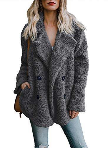 Dokotoo Womens Ladies Winter Fashion Cozy Warm Casual Oversized Fleece Open Front Fuzzy Coats with Pockets Fluffy Cardigans Outerwear Jacket Jackets Deep Grey Medium
