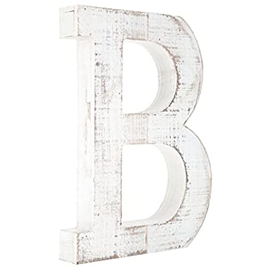 Distressed White Alphabet Wall Décor/Free Standing Monogram Letter B