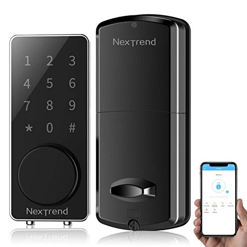 [Newest]Smart Deadbolt, NexTrend Smart Electronic Door Lock with Bluetooth Keyless, Touchscreen, Mechanical Keys Automatic Lock Alarm for Home, Hotel, Apartment, Black