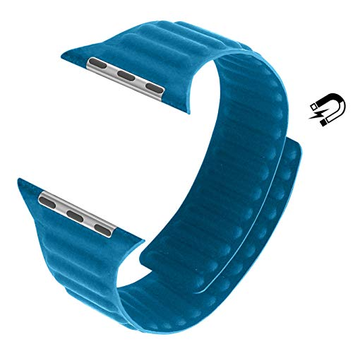MaKer Bracelet en Cuir avec Fermeture Magnétique Compatible avec Apple Watch Série 6/SE/5/4/3 (44mm/42mm,Bleue Mer)