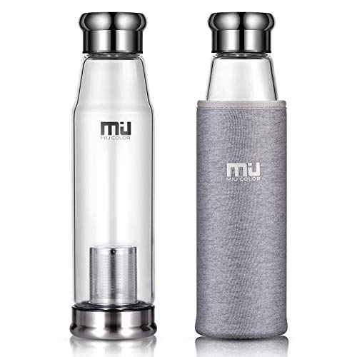 MIU COLOR Stilvolle Tragbare 650ml Glasflasche Größere Kapazität Trinkflasche für Auto, mit Nylon Tasche & Teesieb (Grau)