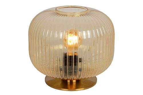 Lucide VIRGIL - Lámpara de mesa (diámetro de 25,5 cm, 1 bombilla E27), color ámbar