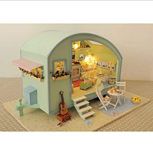 Casa Modelo De Rompecabezas De Madera 3D Diy,Casa De Muñecas En Miniatura,Kits De Manualidades, Regalo Para Niñas,Modelo De Juguete De Rompecabezas(Casa De Viaje)