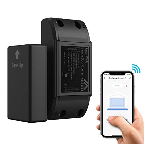 MoKo [Aktualisierte Version] WLAN Smart Garagentoröffner, WIFI Garagentor Schalter Garagentorantrieb Garage Door Controller Kompatibel mit Alexa Google Home, App Fernbedienung Timer Funktion