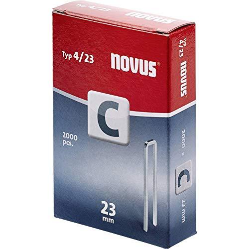Novus Schmalrückenklammern 23 mm, 2000 Klammern, Typ C4/23, Befestigung von Profilhölzern, Paneelen und Holzfaserplatten
