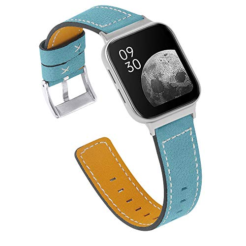 Chofit Correas compatibles con Oppo Watch 41 mm 46 mm Correa, suave reemplazo de correa de cuero pulsera de repuesto para reloj Oppo 41 mm/46 mm Smartwatch Mujeres Hombres (20 mm, Azul)