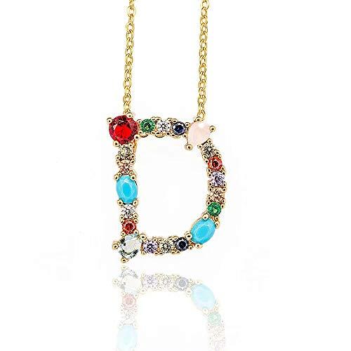 Gioielli personalizzati per donne con nome collana di lettere, oro / argento Colore grande iniziale multicolor collana cubic zirconia per donne / ragazze / signore (26 A-Z)
