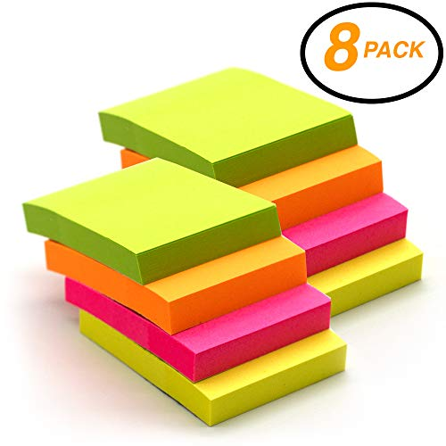"Emraw Tiny Sticky Notes Stick It Stickies, Plain Small 1.5"" x 2"" Rectangular Neon Bright Colored Removable Self Stick On Note Memo Pad for Office, Home, School - Pack of 8 Pads"