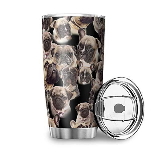 Yzanswer Taza de viaje de acero inoxidable con doble aislamiento, diseño de perro carlino con tapa, color blanco 600 ml