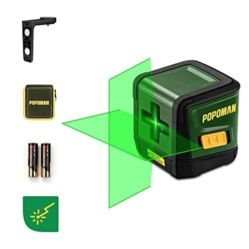 Nivel láser 30M Verde Autonivelación Puntos Horizontales y Verticales Giratorio 360 ° Nivel láser de Doble Línea con modo Manual/Autonivelante IP54 1M a Prueba de Golpes(batería incluida)