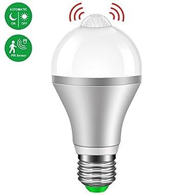 Motion Sensor Light Bulb,Minger 9W Smart PIR LED Bulbs, Auto On/Off Night Lights for Stairs, Garage, Corridor, Walkway, Yard, Hallway, Patio, Carport (E26/E27,730lumen,Cold White)