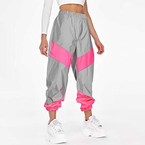 JUSTTIME vrouwen reflecterende stiksels casual mode broek L roze