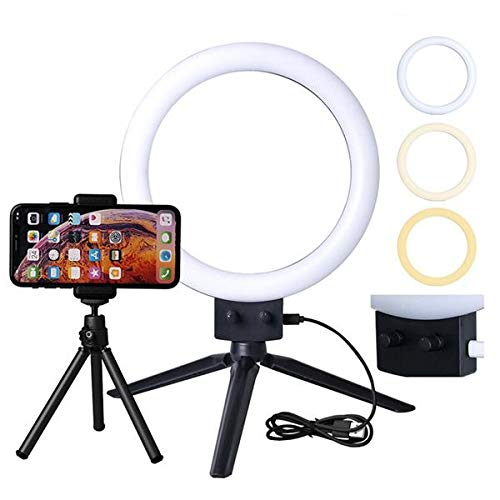 Kshioe 7 Infinite Dimming LED Ring Light Double Color Temperature 5500k Video Lights Lamps with Mini Tabletop Tripod for Phone Video Shooting Makeup YouTube US Standard