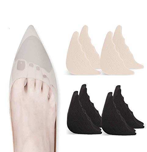 4 Pairs Toe Filler Inserts Adjustable Toe Plug Reusable Shoe Filler for Too Big Shoes for Women Men Unisex Pumps Flats Sneakers - Black + Beige