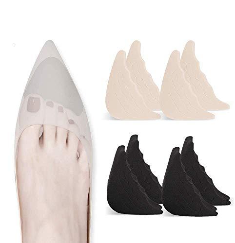 4 Pairs Toe Filler Inserts Adjustable Toe Plug Reusable Shoe Filler for Too Big Shoes for Women Men Unisex Pumps Flats Sneakers - Black + beige