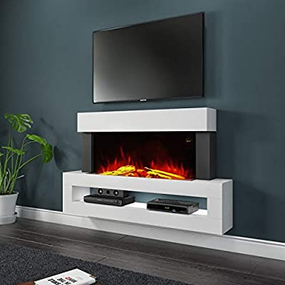 Amberglo White Wall Mounted Electric Fireplace Suite with LED Shelf