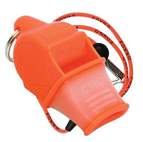 FOX40 Sonik CMG Safety - Silbato de árbitro/entrenador y correa de seguridad naranja orange fluo Talla:talla única