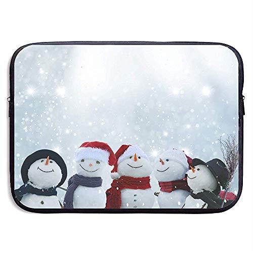 Sneeuwman Het dragen van een sjaal Laptop Sleeve Bag Draagbare Rits Laptop Tas Tablet Tas, 15 Inch