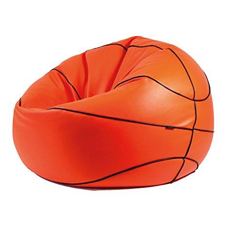 MiPuf - Puff Basket Original - Personalizable - 90 cm dimetro - Tejido Polipiel Alta Resistencia - Doble Cremallera - Relleno Incluido - Naranja - 4 años de Garantía