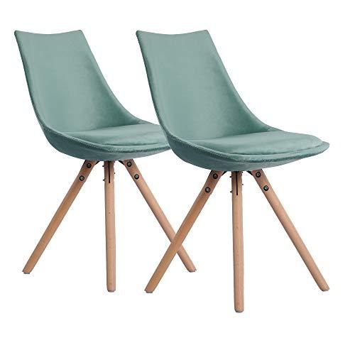 DORAFAIR 2er Set Skandinavisch Esszimmerstühle Küchenstuhl mit Massivholz Buche Bein, Sitzfläche aus Samt, Grün