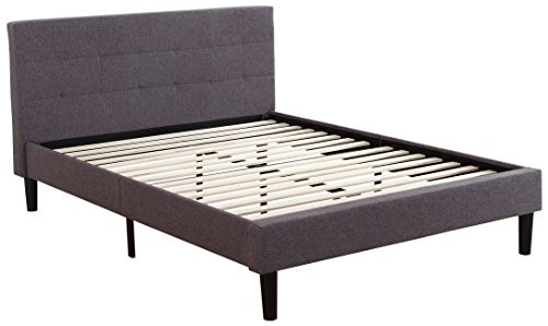 Divano Roma Furniture Tufted Platform Bed Frame w/Wooden Slats Deluxe