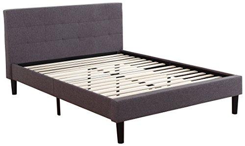 Divano Roma Furniture Tufted Platform Bed Frame w/Wooden Slats Deluxe, Queen, Dark Grey