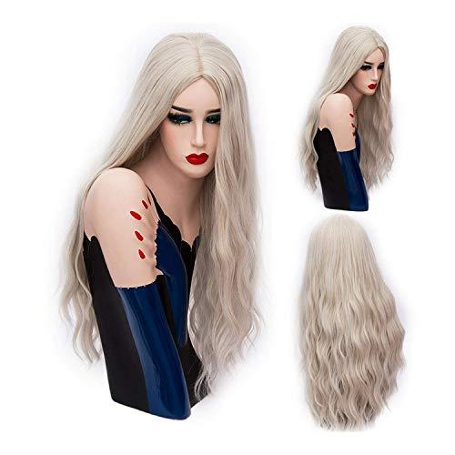 PJPPJH Perruques pour Femmes Cheveux Humains Queue de Cheval Femmes Noires, 70 cm Longue Rose ondulée Cosplay Femmes synthétiques Blonde Perruque