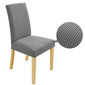 Speedsporting - Fundas para sillas elásticas y lavables (6 unidades), color gris claro