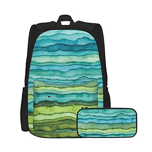 SDBUYW-ZQ Mochila escolarCepillo de acuarela despojado de ondas azules, Mochilas para niños, adolescentes, estudiantes universitarios y estuches para lápices, juegos de dos piezas.