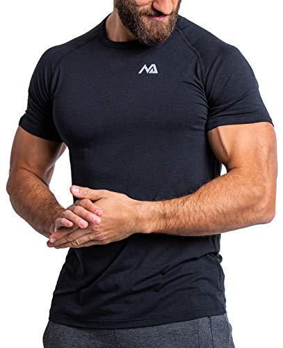 Herren Fitness T-Shirt modal - Männer Kurzarm Shirt für Gym & Training - Passform Slim-Fit, lang mit Rundhals, Schwarz, L