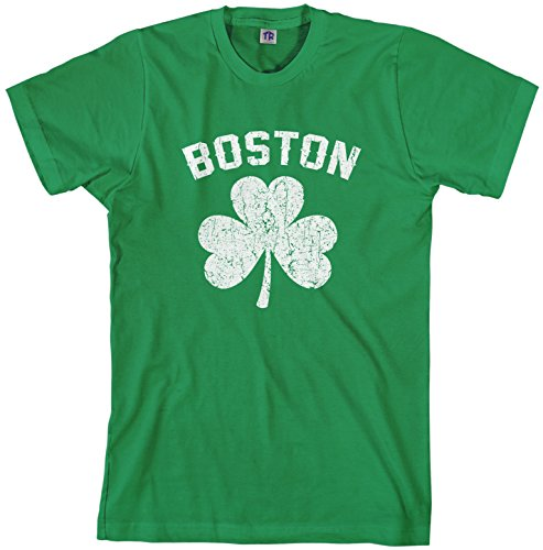 Threadrock Men's Boston Shamrock Irish Pride T-Shirt S Kelly Green