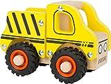 small foot 11096 Einsatzfahrzeug Baufahrzeug aus Holz, mit Ladefläche und gummierten Rädern, ab 18 Monaten Spielzeug, Gelb
