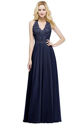 Misshow Abendkleid, lang, sexy, schick, aus Spitze, mit Perlen, liniert, mit Blumenmuster Gr. 34, marineblau