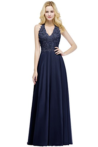 Babyonline Pearl Beaded Princess Dress for Junior Quinceanera Party,NavyBlue,10