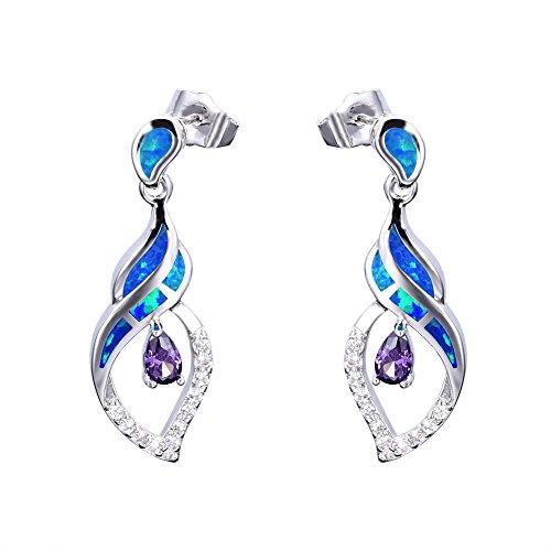 OMZBM Fire Opal Dangle Long Earrings Blue/White Gemstone Sterling Silver Simulated Diamond Stud Earrings Jewelry Women Girl,Blue